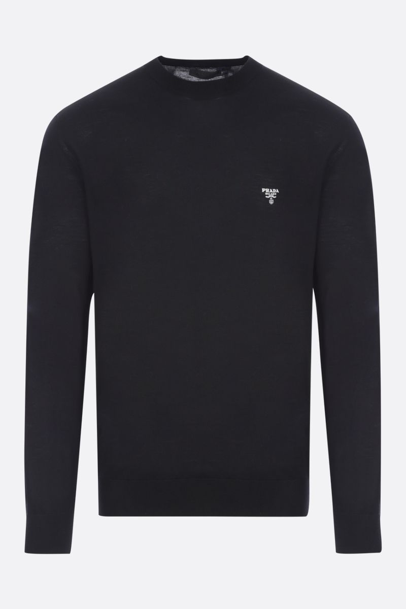 PRADA: logo embroidered wool pullover Color Black_1
