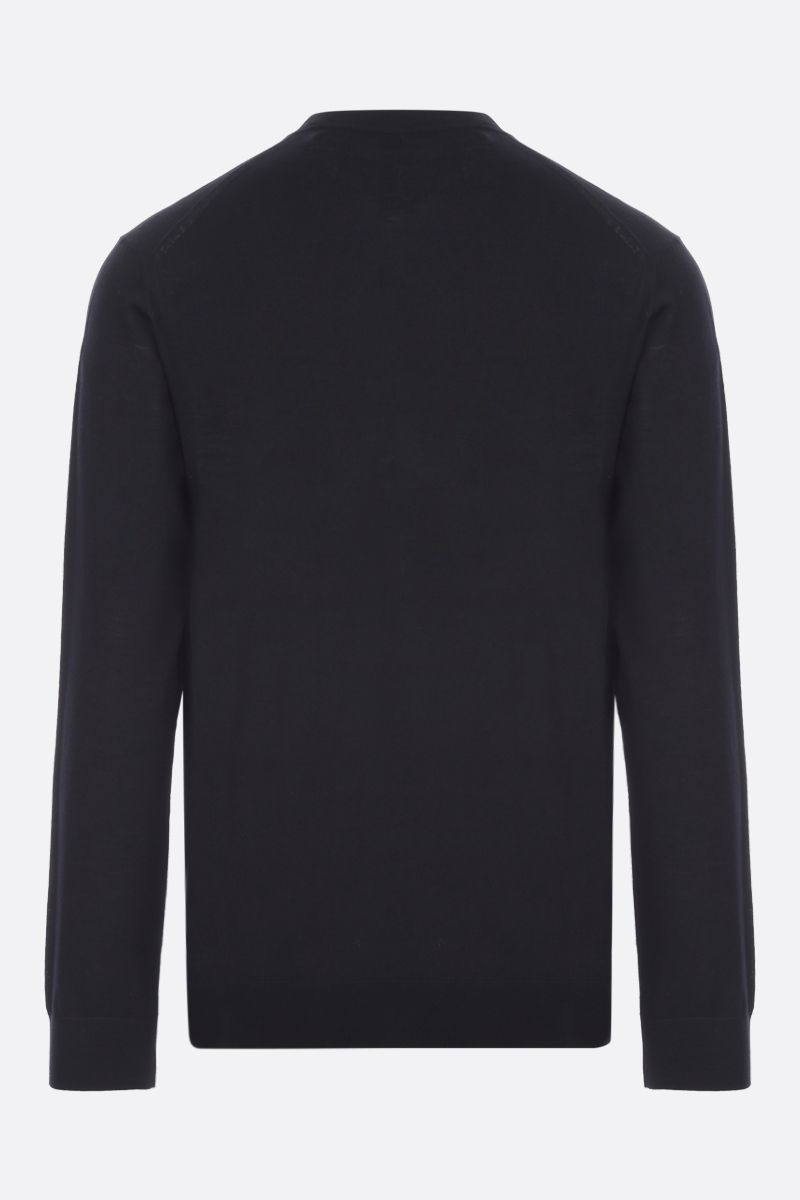 PRADA: logo embroidered wool pullover Color Black_2