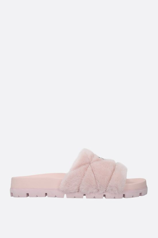 PRADA: sandalo slide in shearling con logo Colore Rosa_1