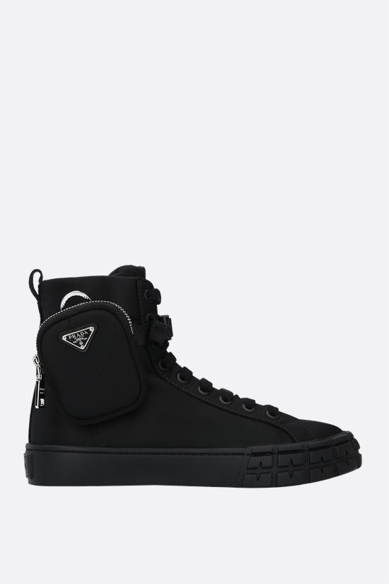 PRADA: sneaker high-top Wheel in Re-Nylon Colore Nero_1