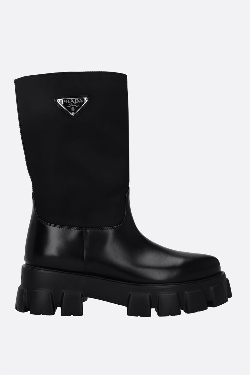 PRADA: Monolith flatform boots in Re-Nylon and brushed leather Color Black_1