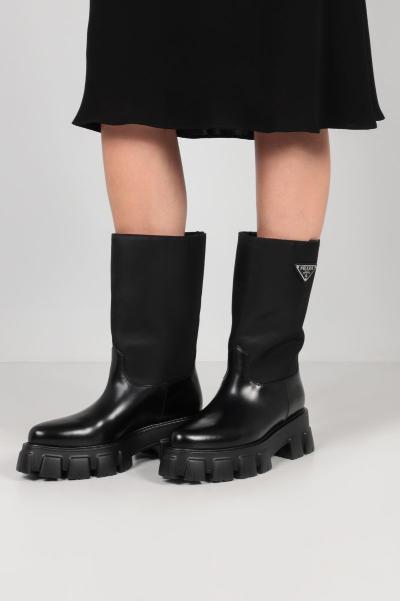PRADA: Monolith flatform boots in Re-Nylon and brushed leather Color Black_2