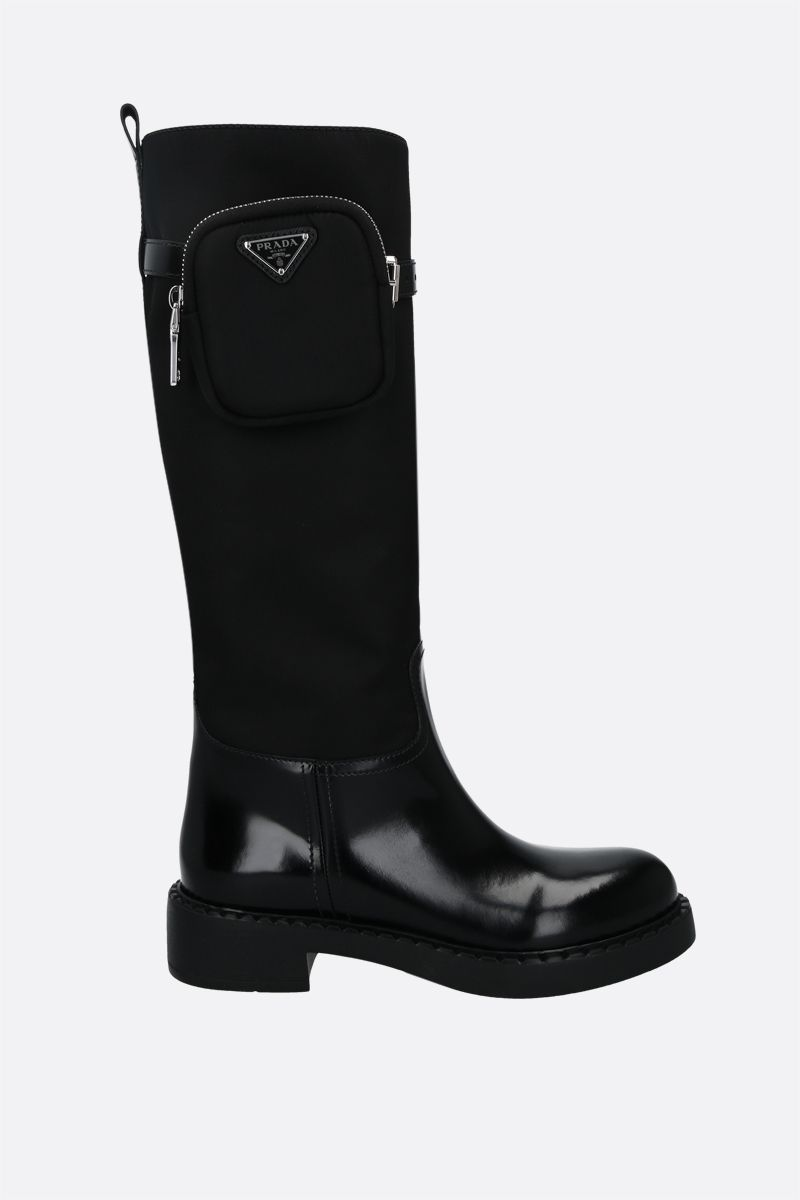 PRADA: Re-Nylon and brushed leather boots Color Black_1