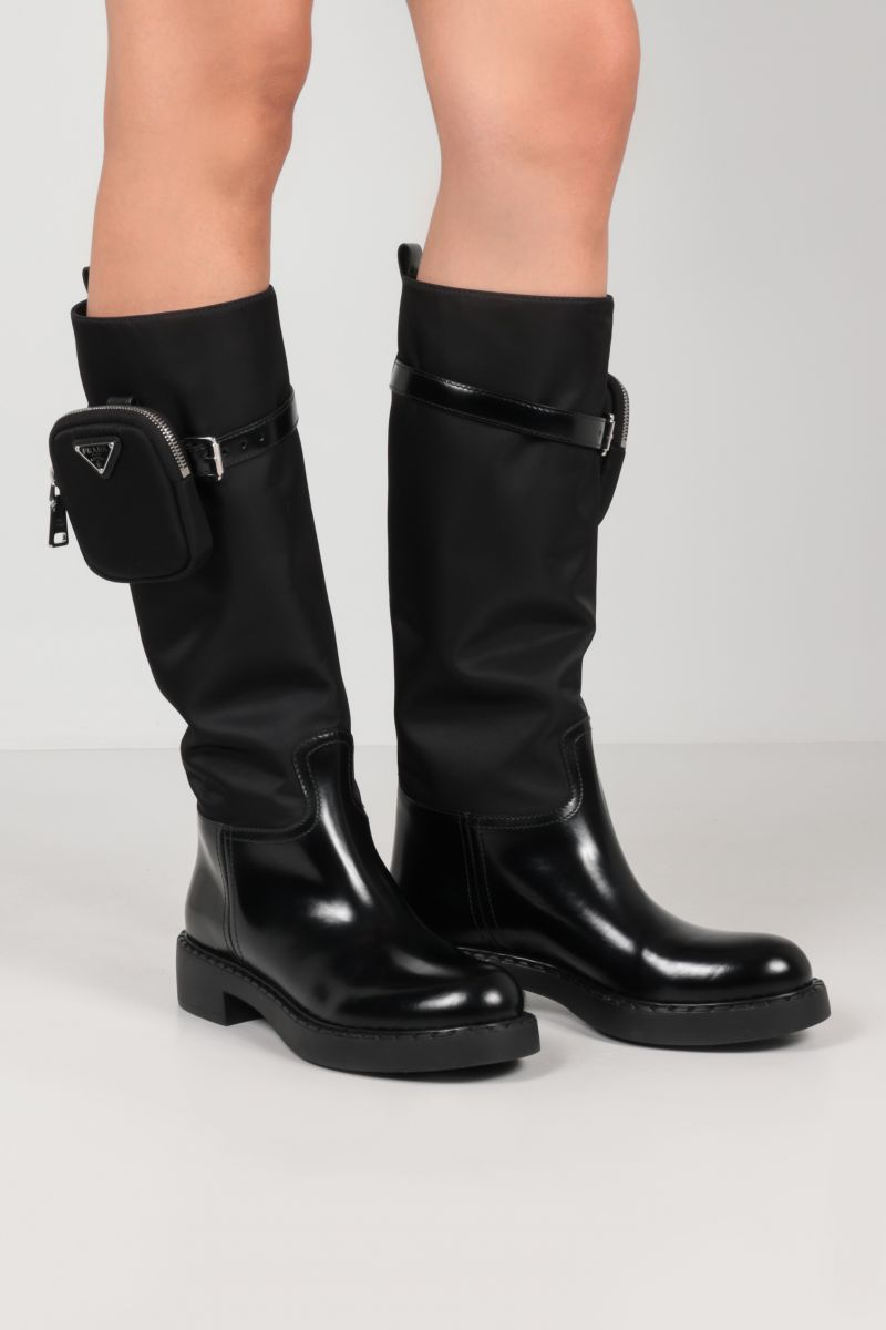 PRADA: Re-Nylon and brushed leather boots Color Black_2