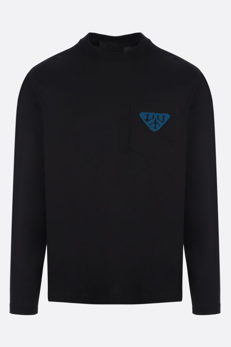 PRADA: triangle patch long-sleeved cotton t-shirt Color Black_1