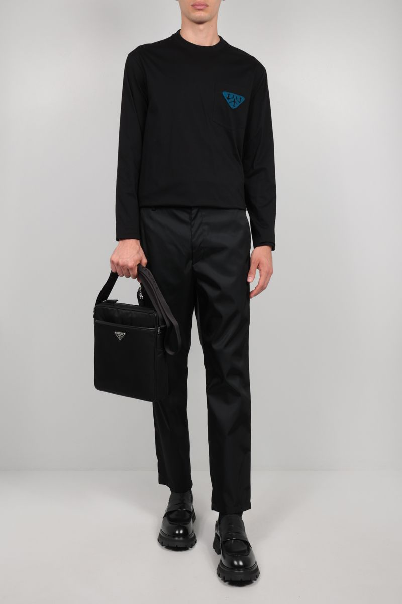 PRADA: triangle patch long-sleeved cotton t-shirt Color Black_2