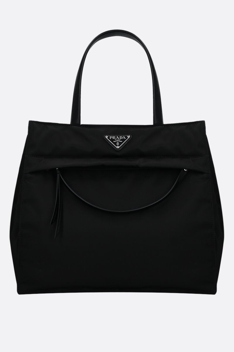 PRADA: padded Re-Nylon and smooth leather shopping bag Color Black_1