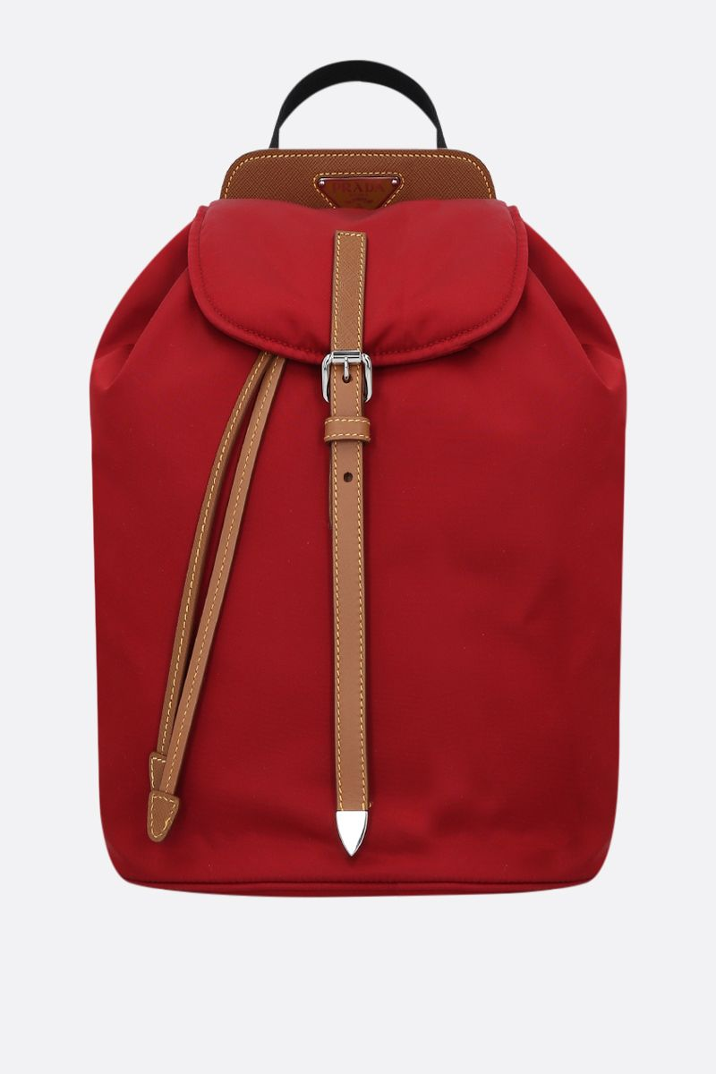 PRADA: nylon and Saffiano leather backpack Color Red_1