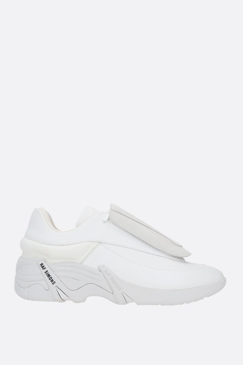 RAF SIMONS: Antei smooth leather and nylon sneakers Color White_2