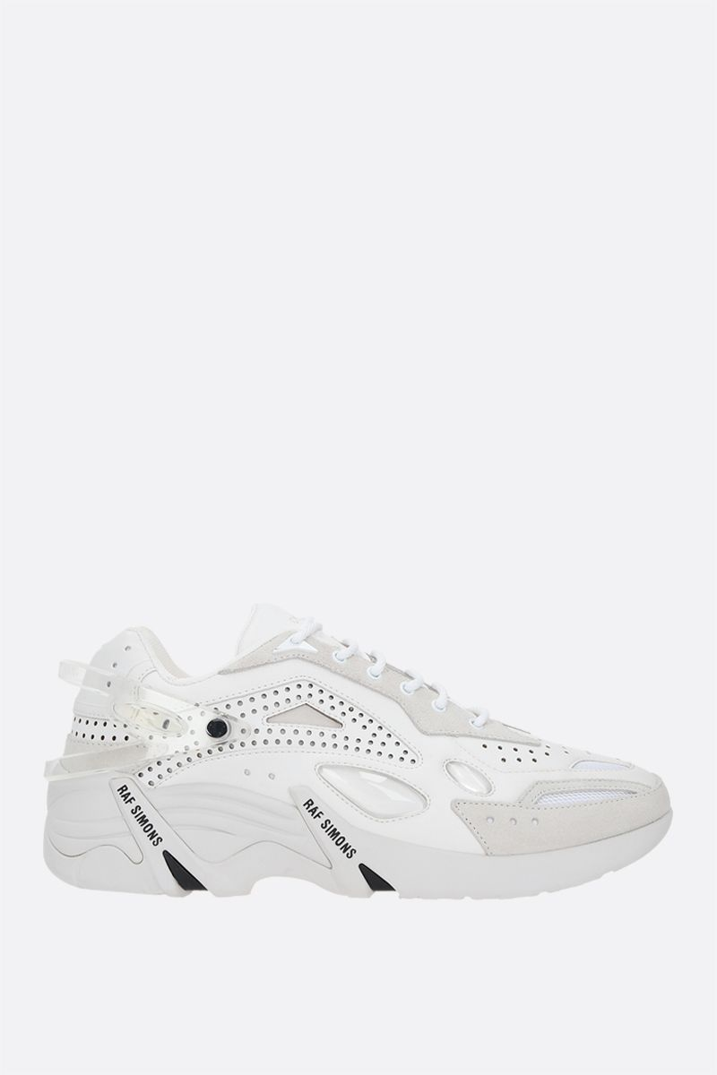 RAF SIMONS: Cyclon-21 smooth leather and suede sneakers Color White_1