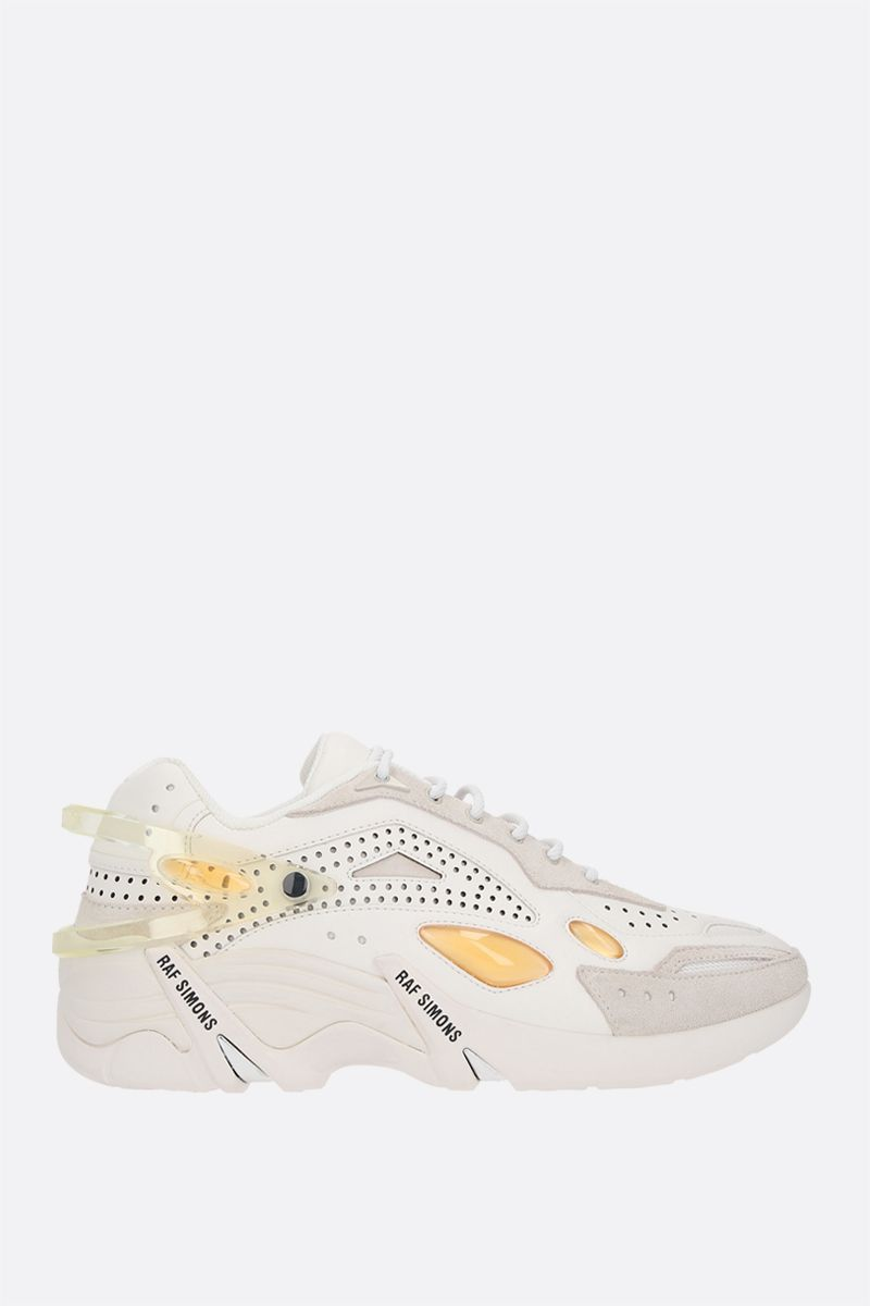 RAF SIMONS: Cyclon-21 smooth leather and suede sneakers Color White_2