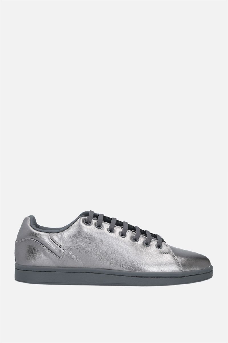 RAF SIMONS: Orion laminated leather sneakers Color Silver_1