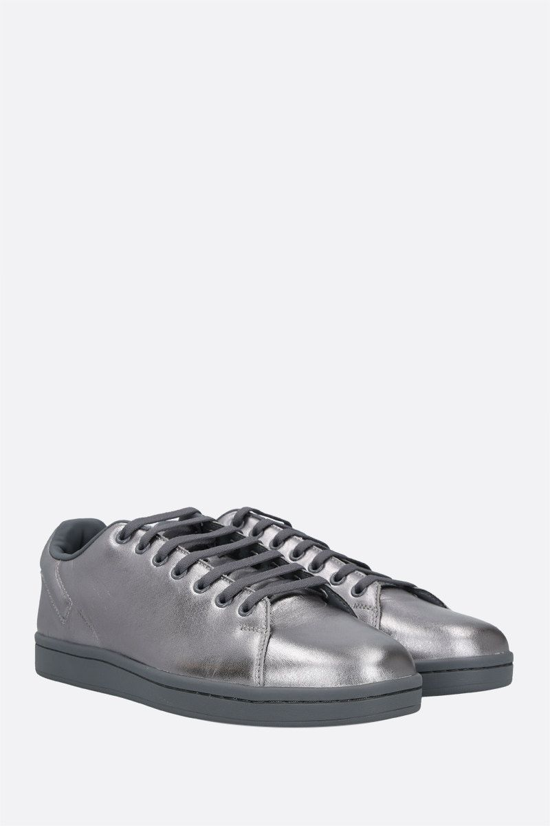 RAF SIMONS: Orion laminated leather sneakers Color Silver_2