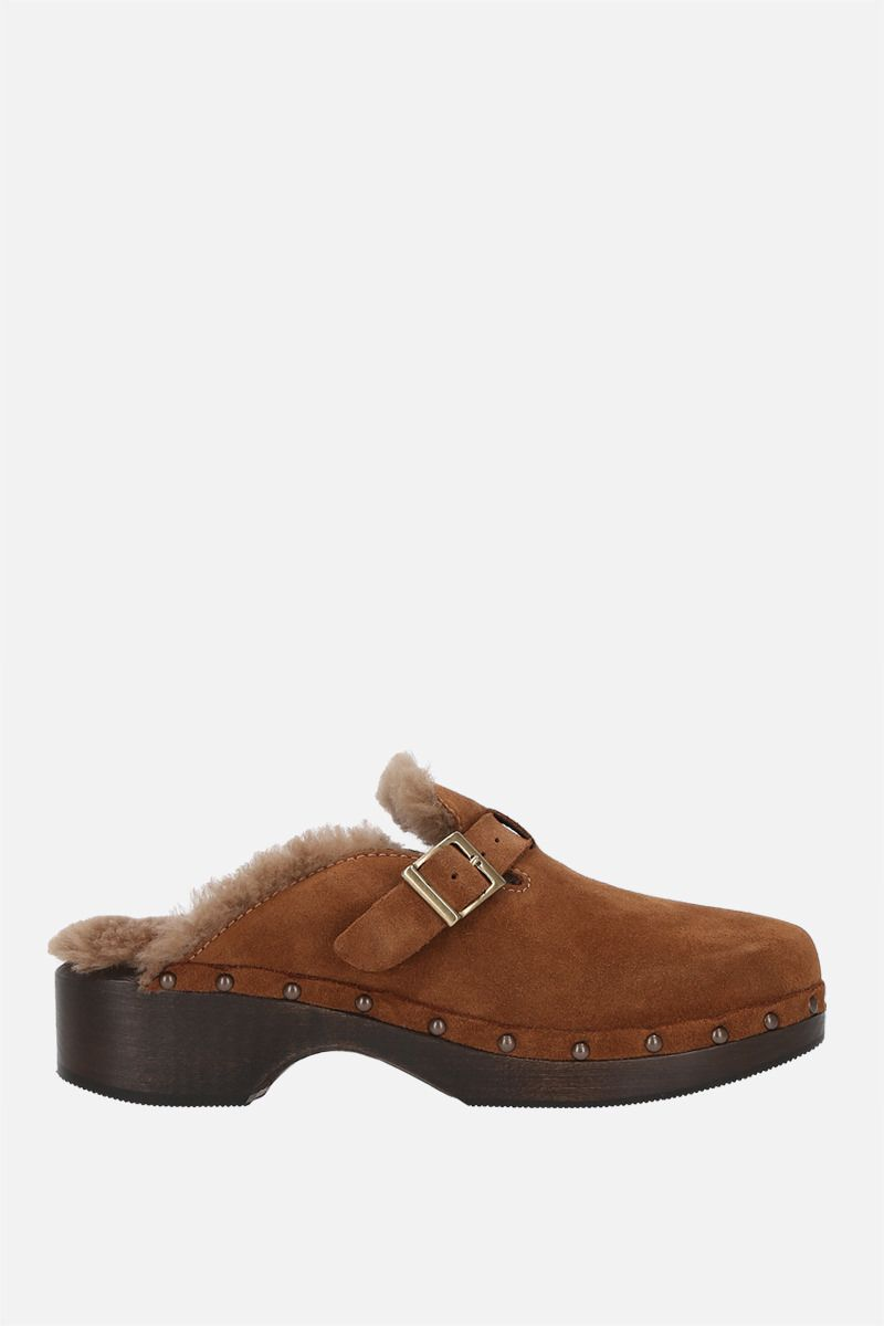 RE/DONE: mule 70s Clog in suede e shearling Colore Brown_1
