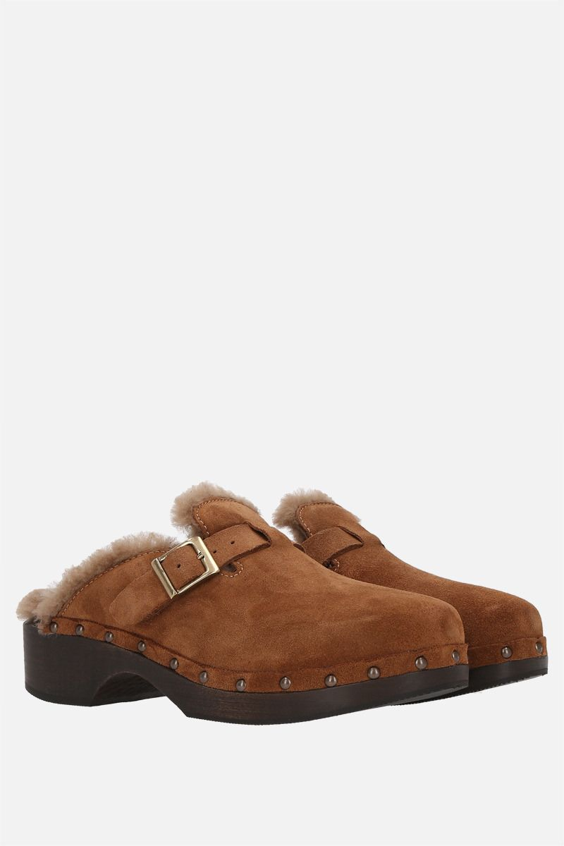 RE/DONE: mule 70s Clog in suede e shearling Colore Brown_2