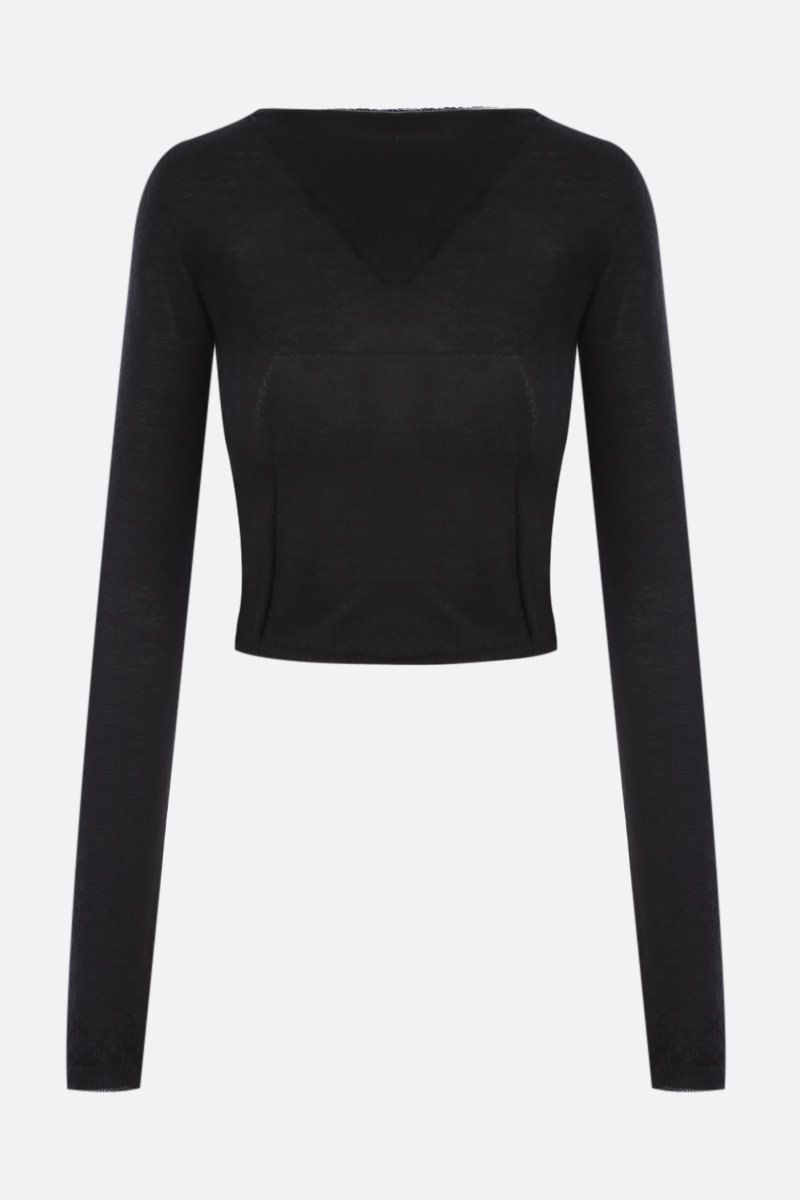 RICK OWENS: pullover cropped Column in cashmere Colore Black_1