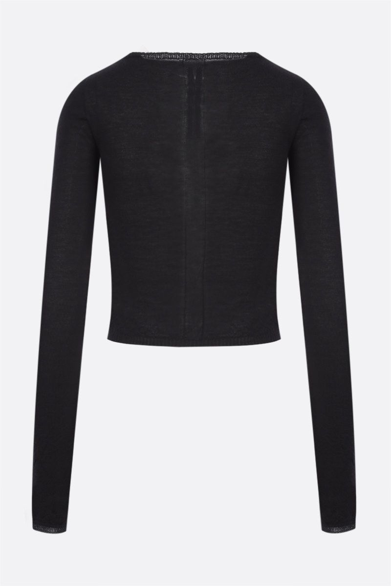 RICK OWENS: pullover cropped Column in cashmere Colore Black_2