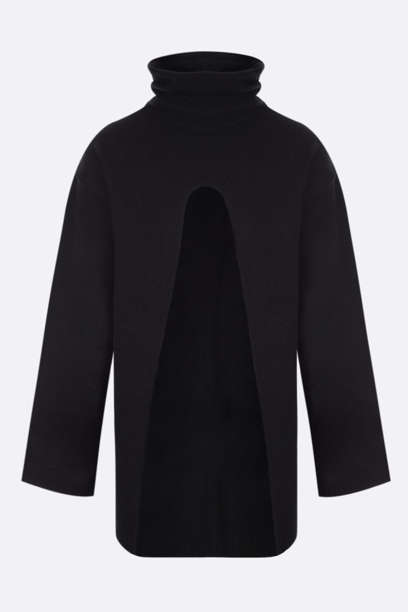 RICK OWENS: pullover cut-out in cashmere e lana Colore Black_1