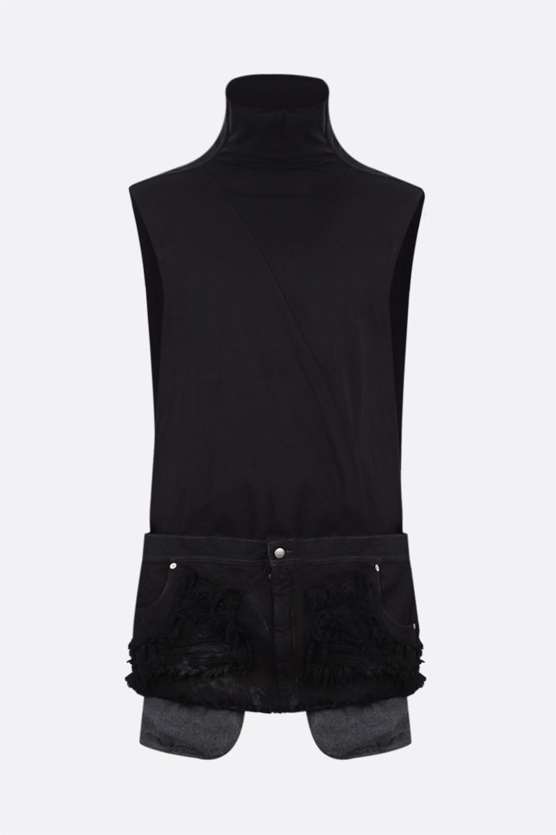 RICK OWENS: t-shirt Collage in jersey e denim Colore Black_1