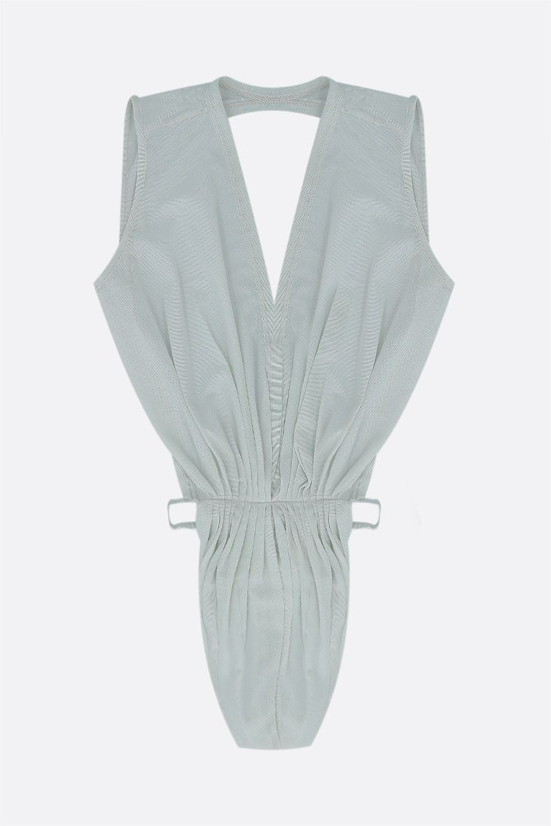 RICK OWENS: body Gia String in tulle Colore Grey_1