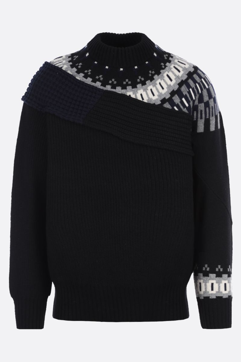 SACAI: pullover in lana patchwork Colore Black_1