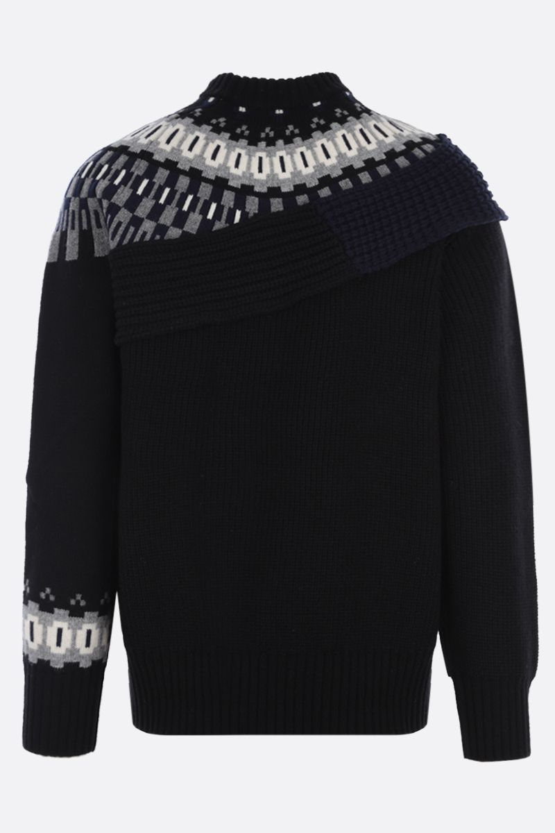 SACAI: pullover in lana patchwork Colore Black_2