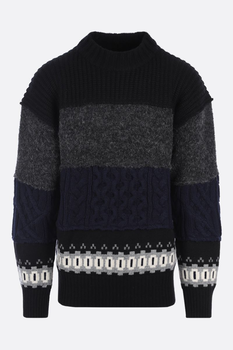 SACAI: wool patchwork pullover Color Black_1