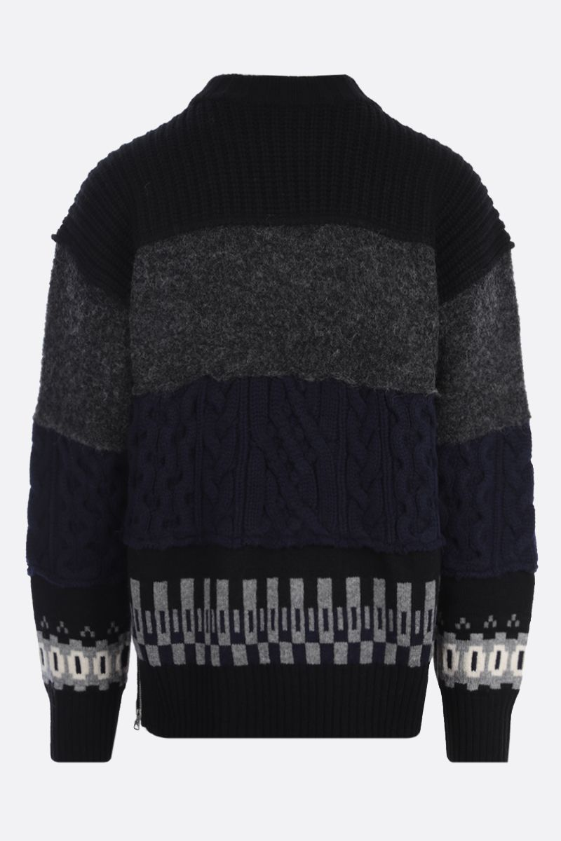 SACAI: wool patchwork pullover Color Black_2