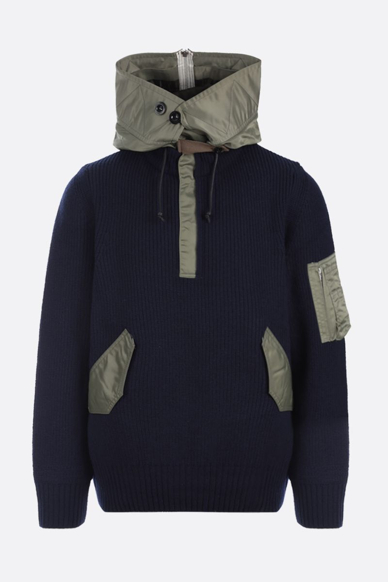 SACAI: nylon-detailed wool pullover Color Blue_1