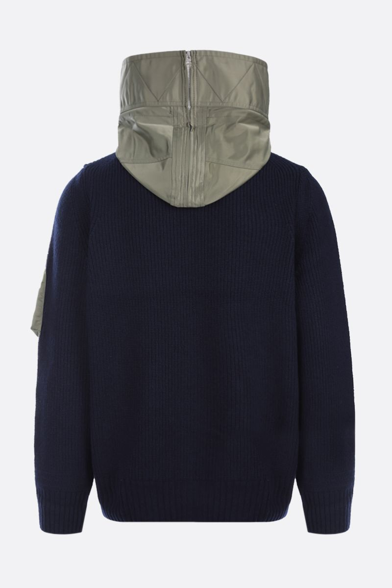 SACAI: nylon-detailed wool pullover Color Blue_2
