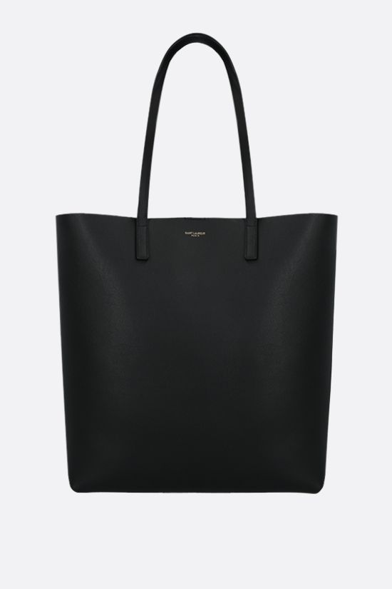 SAINT LAURENT: North South smooth leather tote bag Color Black_1