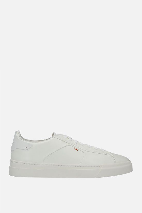 SANTONI: smooth leather sneakers Color White_1