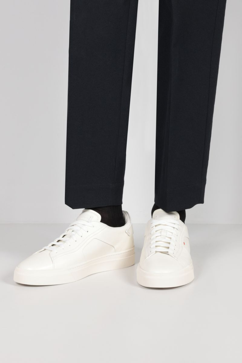 SANTONI: smooth leather sneakers Color White_2