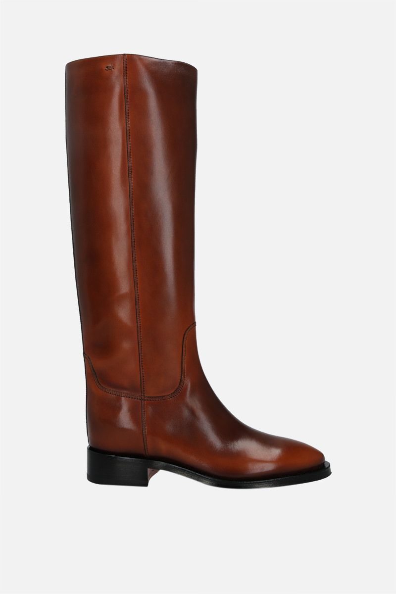 SANTONI: brushed leather boots Color Brown_1