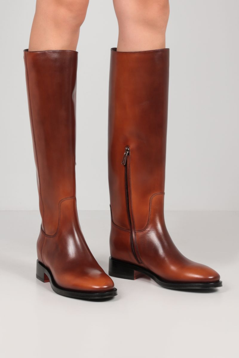 SANTONI: brushed leather boots Color Brown_2