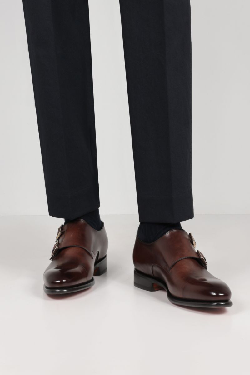 SANTONI: smooth leather monk strap shoes Color Brown_2