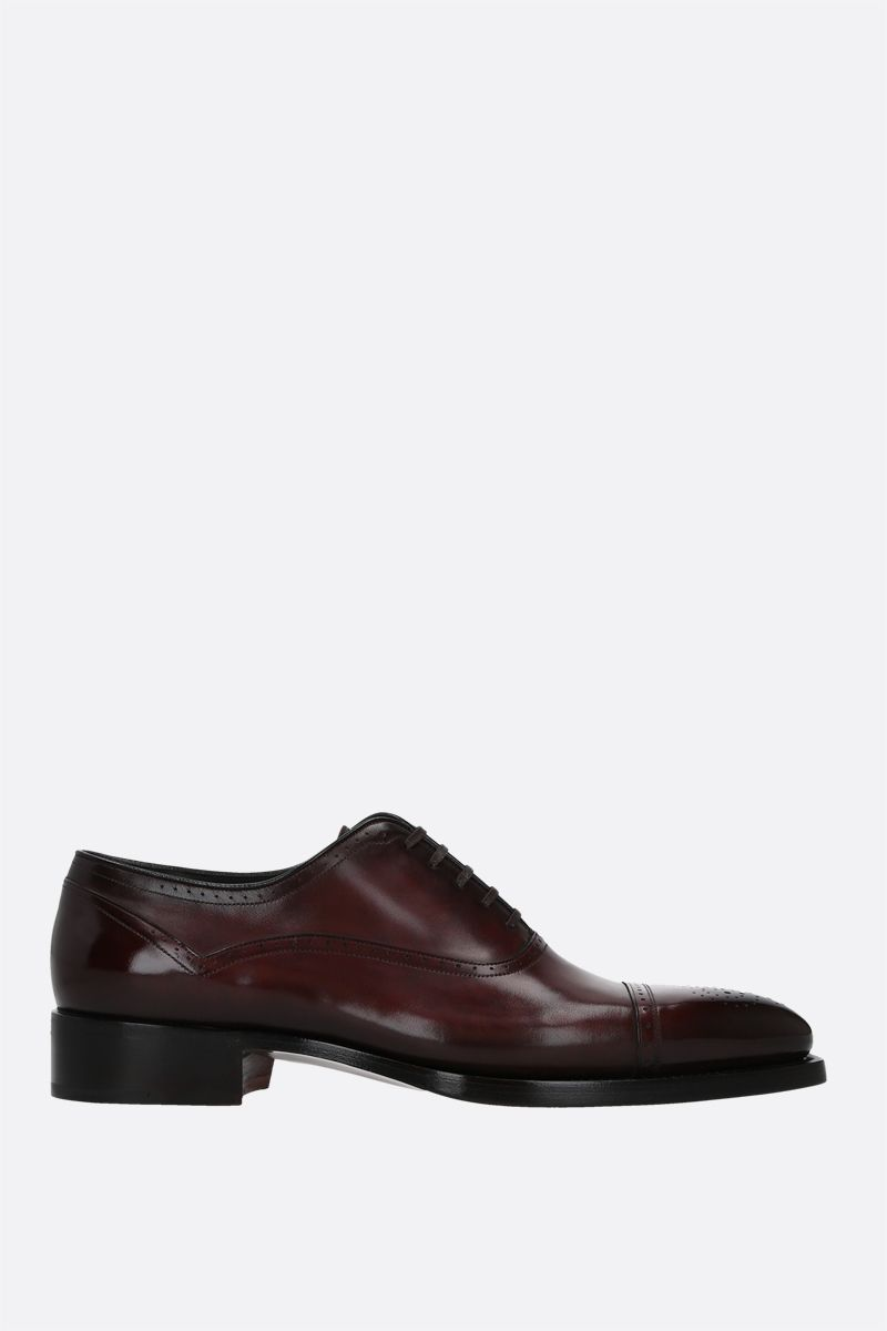 SANTONI: brushed leather oxford shoes Color Brown_1