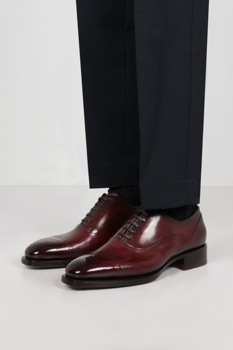 SANTONI: brushed leather oxford shoes Color Brown_2