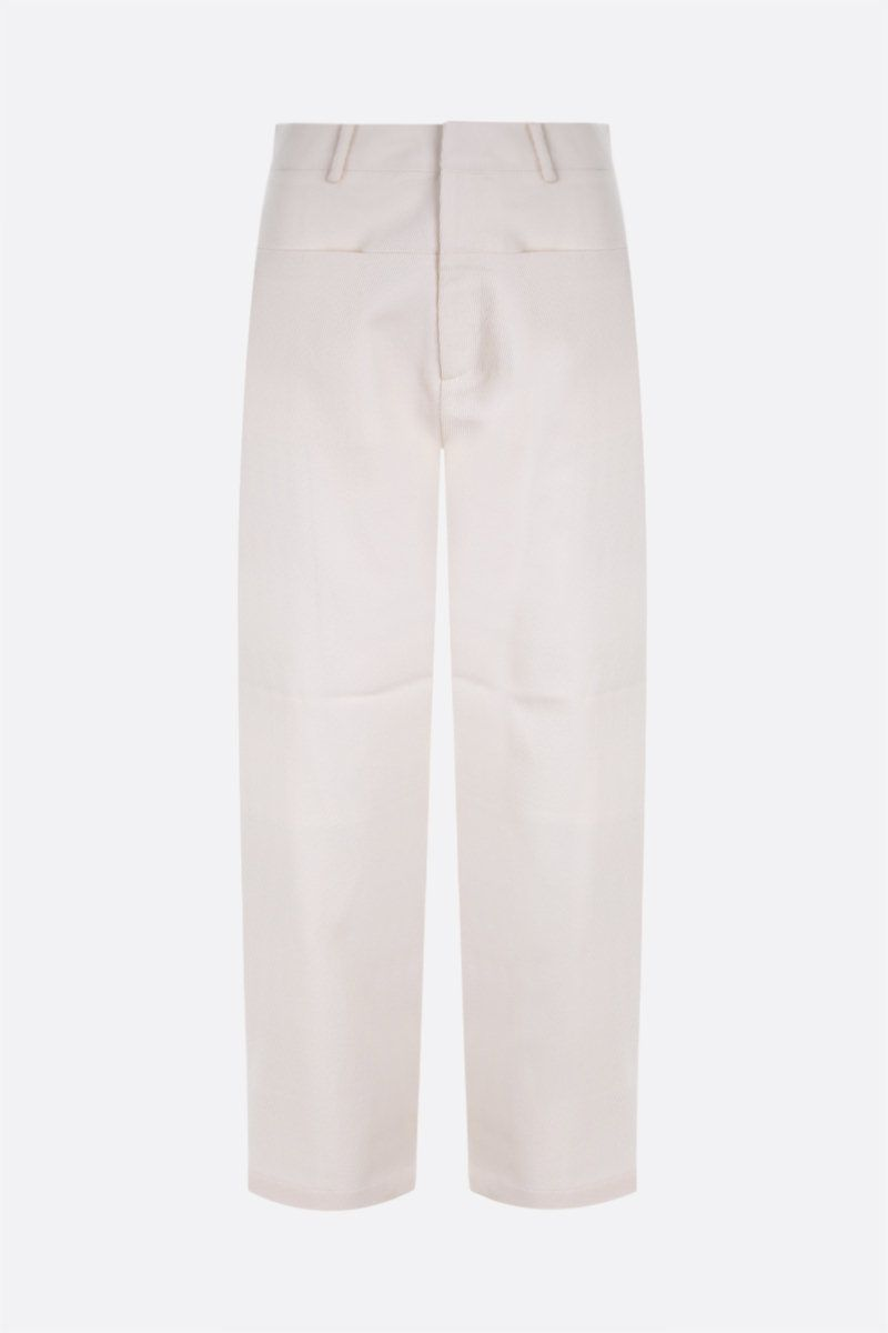 SARA LANZI: pantalone slouchy-fit in drill Colore White_1