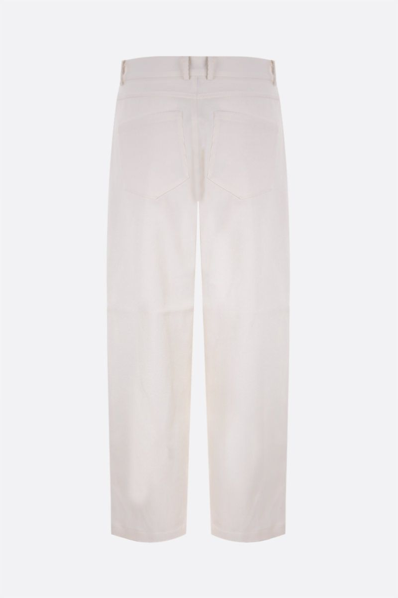 SARA LANZI: pantalone slouchy-fit in drill Colore White_2