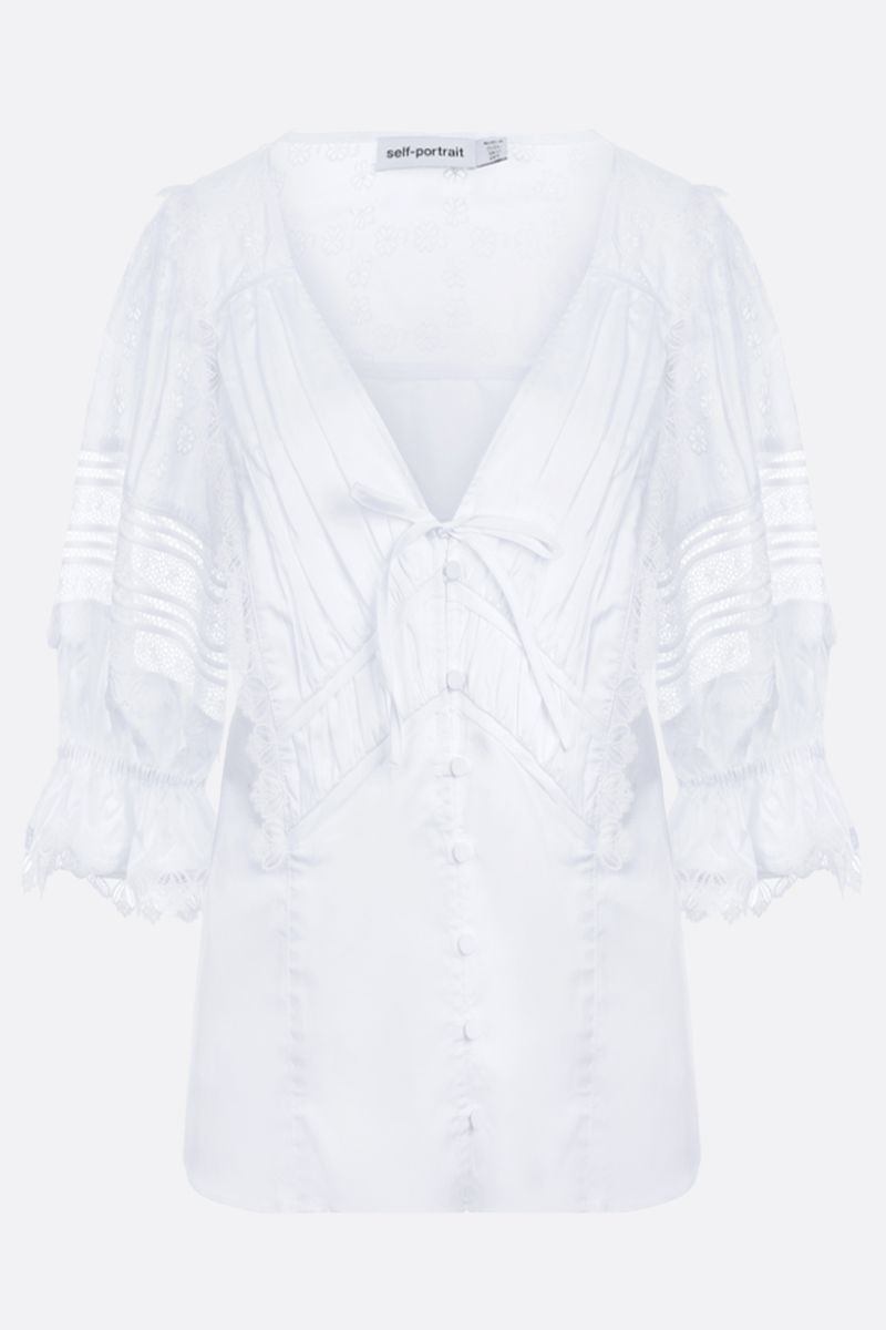 SELF PORTRAIT: broderie anglaise-detailed poplin blouse Color White_1