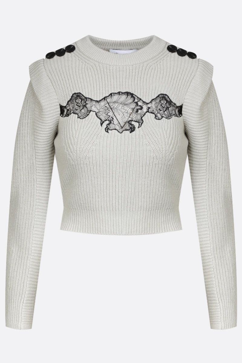 SELF PORTRAIT: lace-detailed wool cotton blend cropped pullover Color Green_1