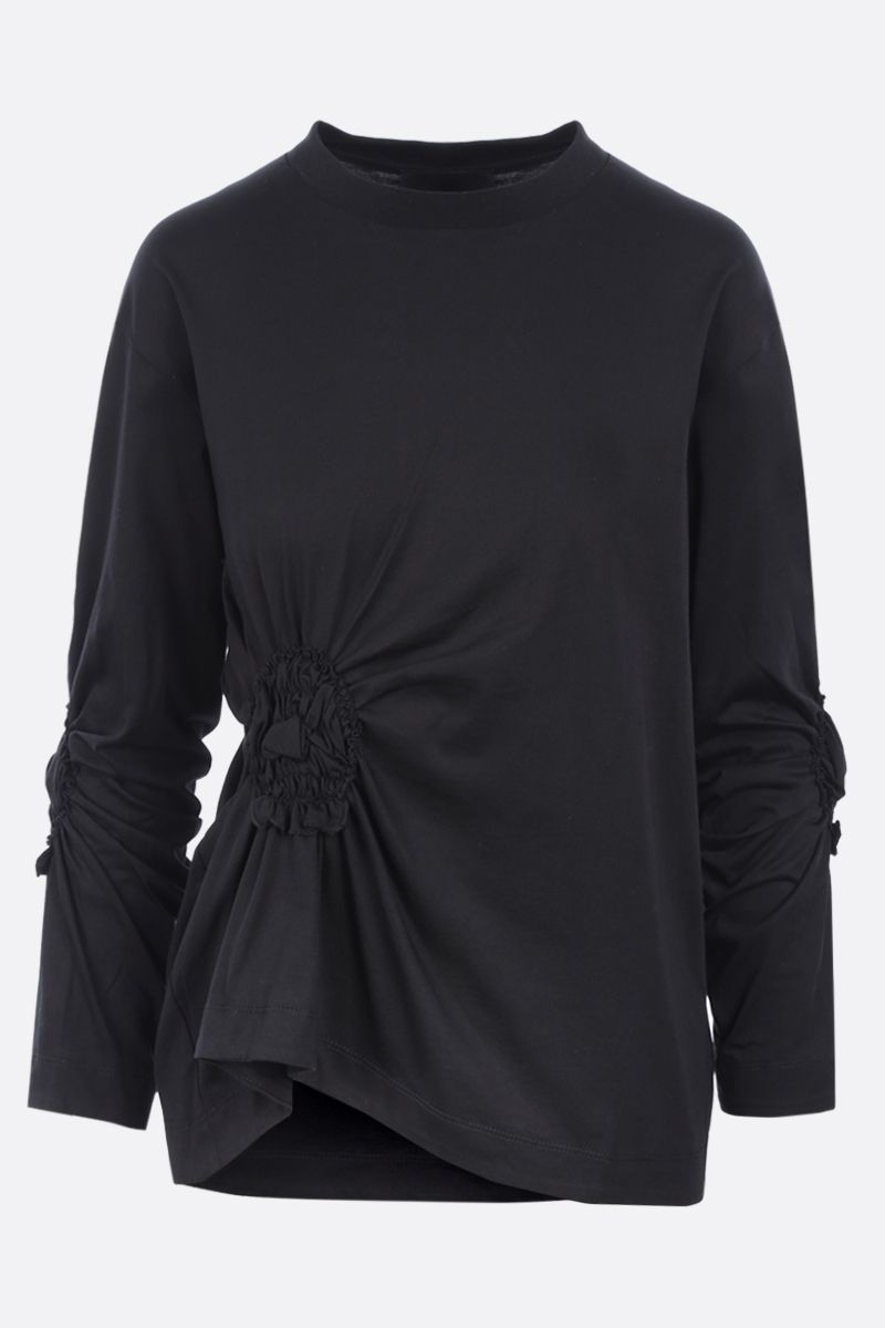 SIMONE ROCHA: t-shirt Ruched Flower in cotone Colore Black_1
