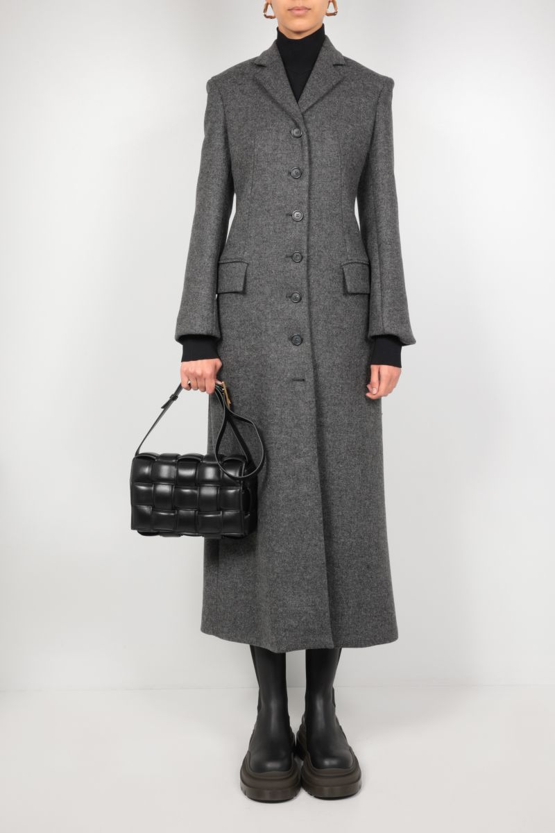 SPORTMAX: Aquile single-breasted wool coat Color Grey_2