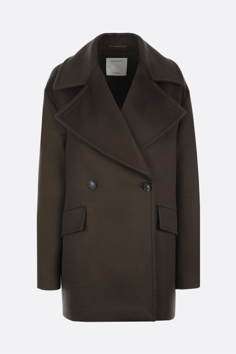 SPORTMAX: Austria double-breasted wool coat Color Green_1