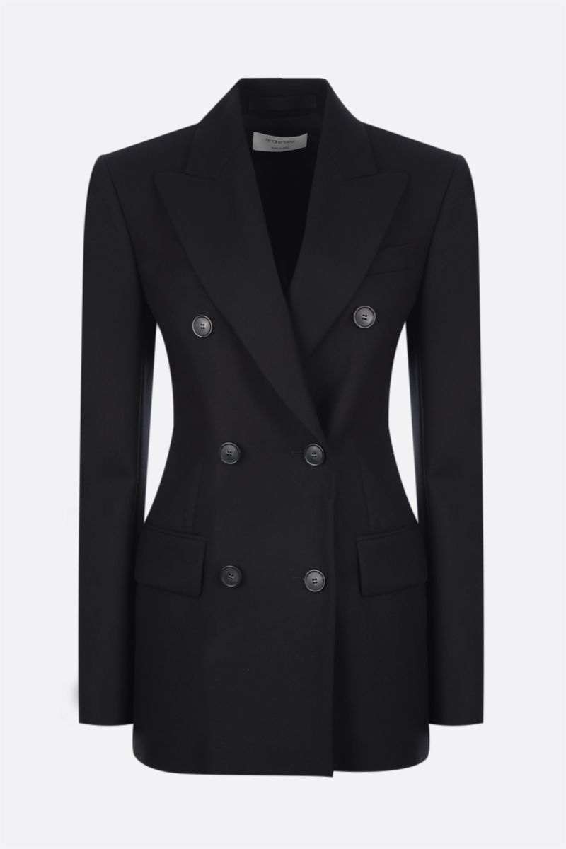 SPORTMAX: Canore double-breasted stretch wool jacket Color Black_1