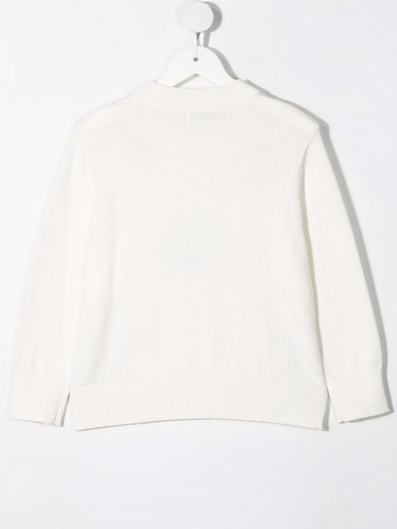 STELLA McCARTNEY KIDS: floral embroidered wool cotton blend pullover Color White_2