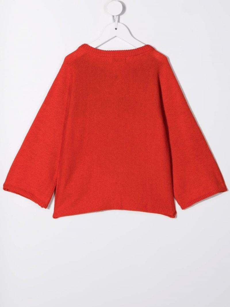 STELLA McCARTNEY KIDS: Pencil wool cotton blend pullover Color Red_2