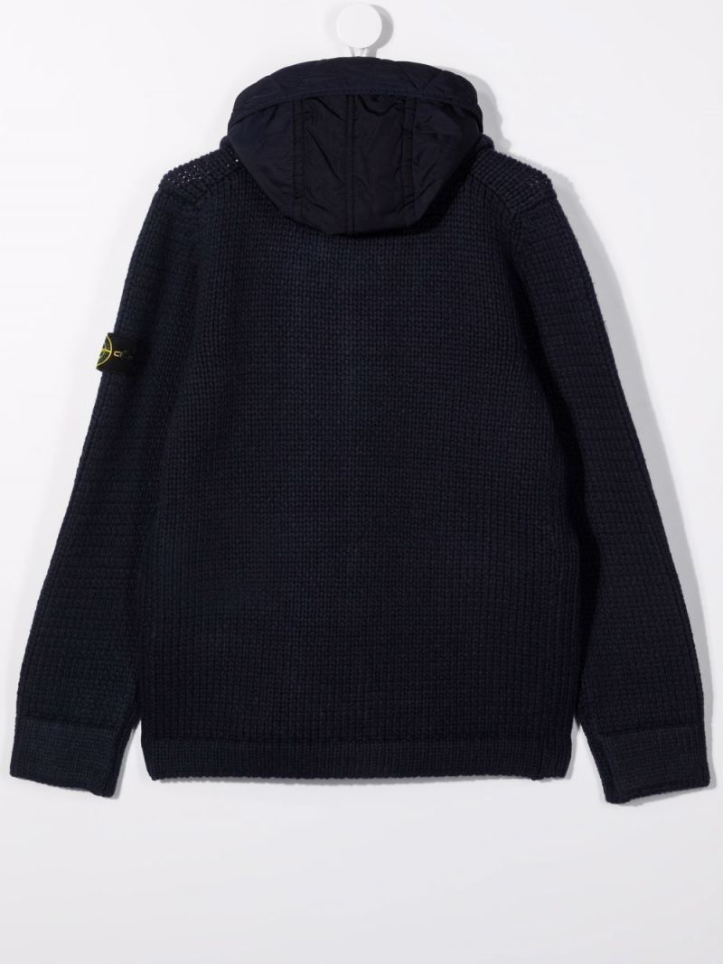 STONE ISLAND JUNIOR: knitted hooded jacket Color Blue_2