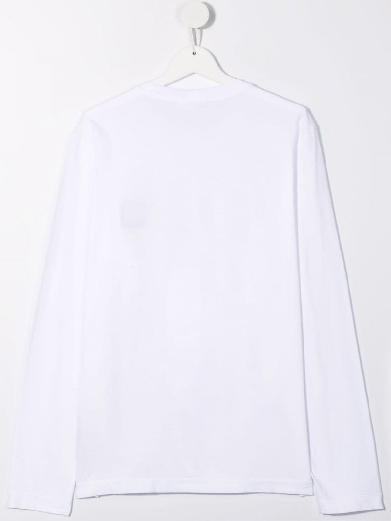 STONE ISLAND JUNIOR: logo patch long-sleeved cotton t-shirt Color White_2